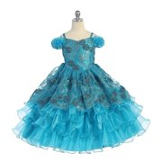 Angel Garment Teal Organza Ruffle Pageant Flower Girl Dress 2T