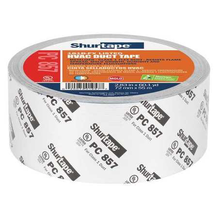 SHURTAPE PC 857 Duct Tape,55m L,2-27/32 in. D,Silver G4443489