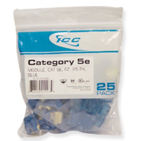 ICC IC107E5CBL - 25PK Cat5 Jack - Blue