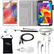 DigitalsOnDemand ® 10-Item Accessory Bundle Kit for Samsung Galaxy Tab 4 8.0 (8-Inch) - Leather Case, Screen Protector, Stylus Pen, USB Cable, Car Charger, Earphones and Splitter, OTG, AUX, Travel Bag