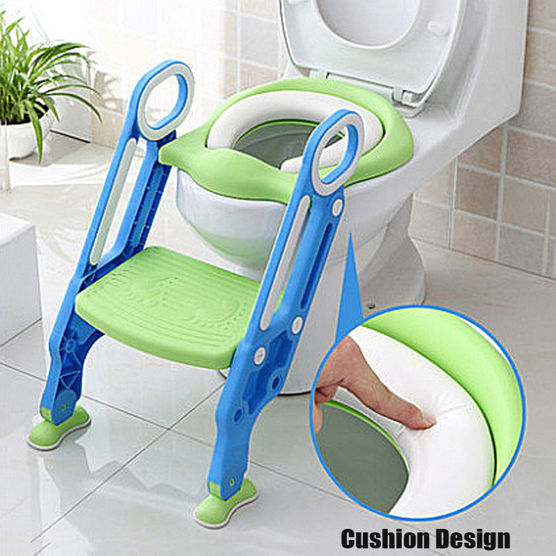 Adjustable Ladder Potty Toilet Trainer Safety Seat Chair Step Infant Toilet Training Non-slip Folding Seat by Generic