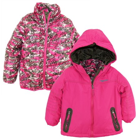 Rugged Bear Girls 2-in-1 System Winter Coat Hooded Camo Cheetah Quilted Puffer Jacket