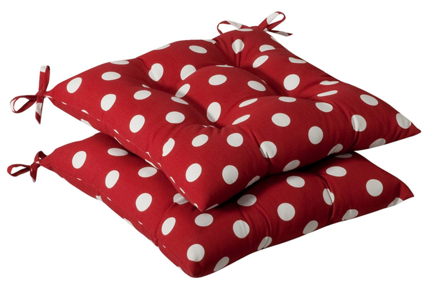 Pack of 2 Outdoor Patio Tufted Chair Seat Cushions Red & White Polka Dot by CC Home Furnishings