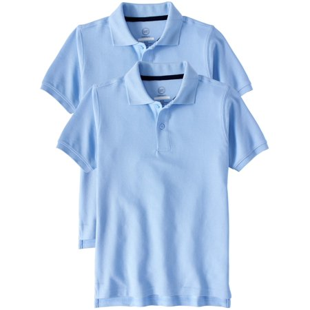 Wonder Nation School Uniform Short Sleeve Double Pique Polo, 2-Pack Value Bundle (Little Boys & Big Boys)