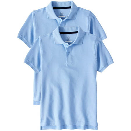 Boys School Uniform Short Sleeve Double Pique Polo, 2-Pack Value