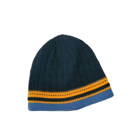 23870d2357a Men s Navy With Light blue and Mustard Stripe Winter Beanie Stocking Cap Hat  Image 1 of