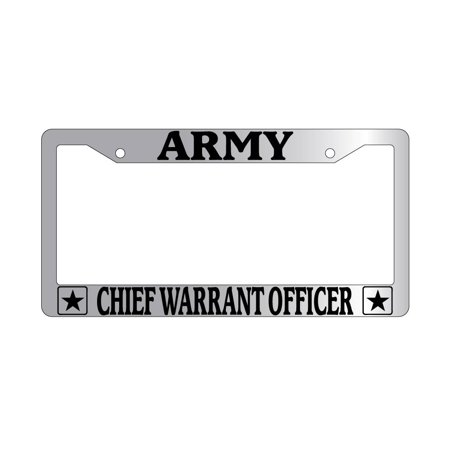 Chiefs Plastic License Plate - Army Chief Warrant Officer Chrome Plastic License Plate Frame