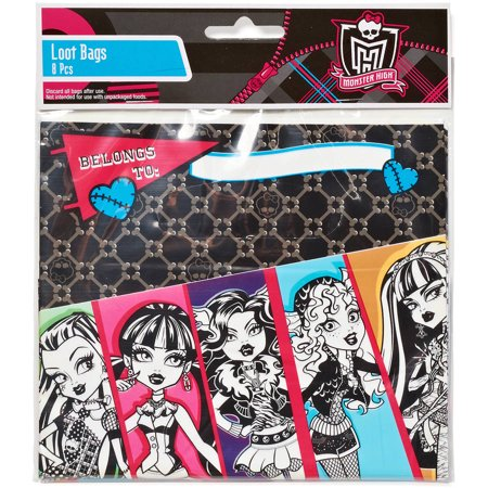 Monster High Treat Bags, Pack of 8, Party Supplies (Monster High Halloween Treat Bags)