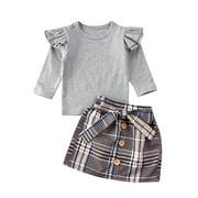 Wassery Baby Girls Long Sleeve Ruffle Tops Bowknot Pleated Mini Skirt