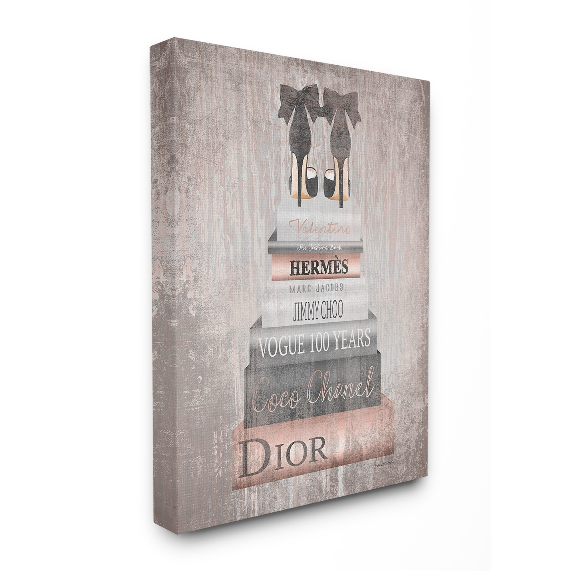 The Stupell Home Decor Collection Book Stack Heels Metallic Pink Oversized Stretched Canvas Wall Art, 24 x 1.5 x 30