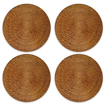 Better Homes & Gardens Light Brown Round Rattan Chargers Set of 4