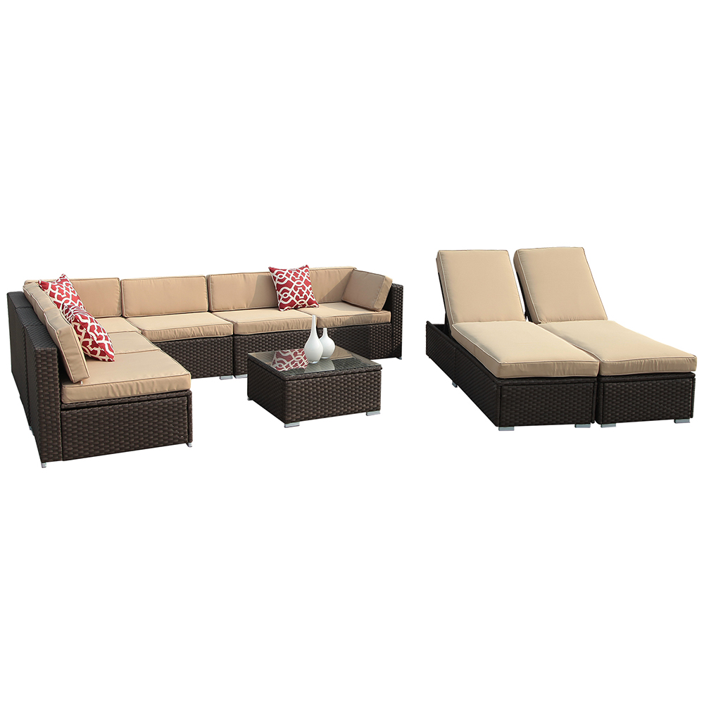 9pc Outdoor PE Wicker Rattan Sectional Furniture Set with Beige Seat and Back Cushions, Red Throw Pillows, Aluminum... by Superjoe