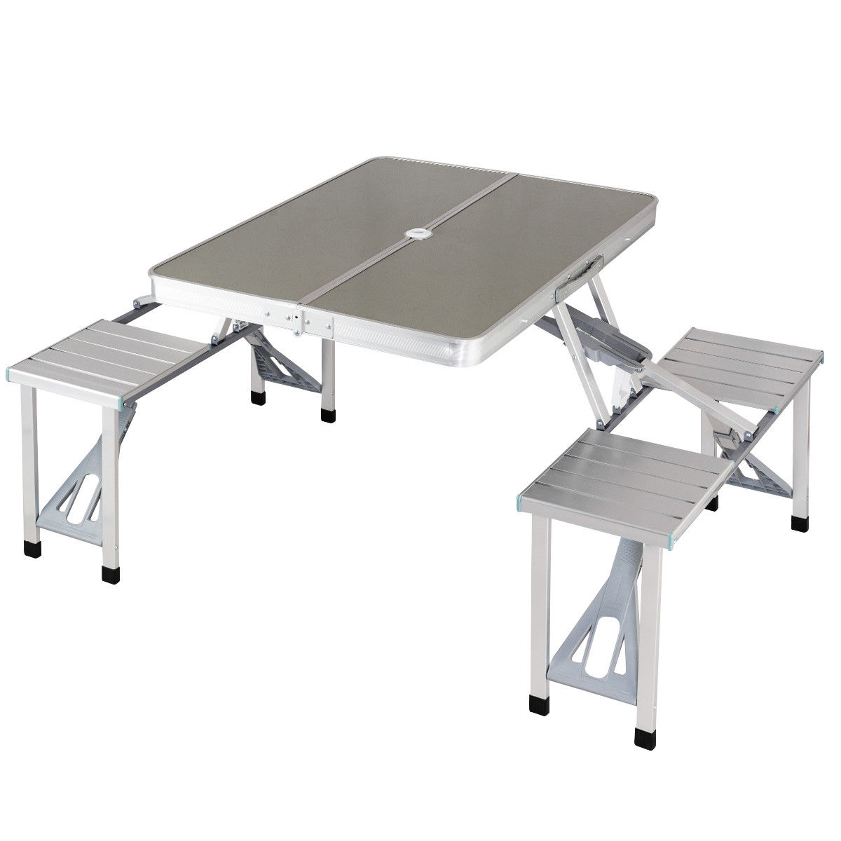 Costway Aluminum Portable Folding Picnic Table Camping Suitcase W Bench 4 Seat Outdoor
