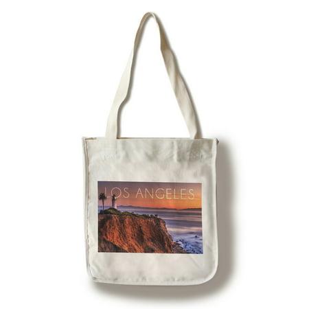 Los Angeles, California - Point Vincent Lighthouse & Sunset  - Lantern Press Photography (100% Cotton Tote Bag - Reusable)