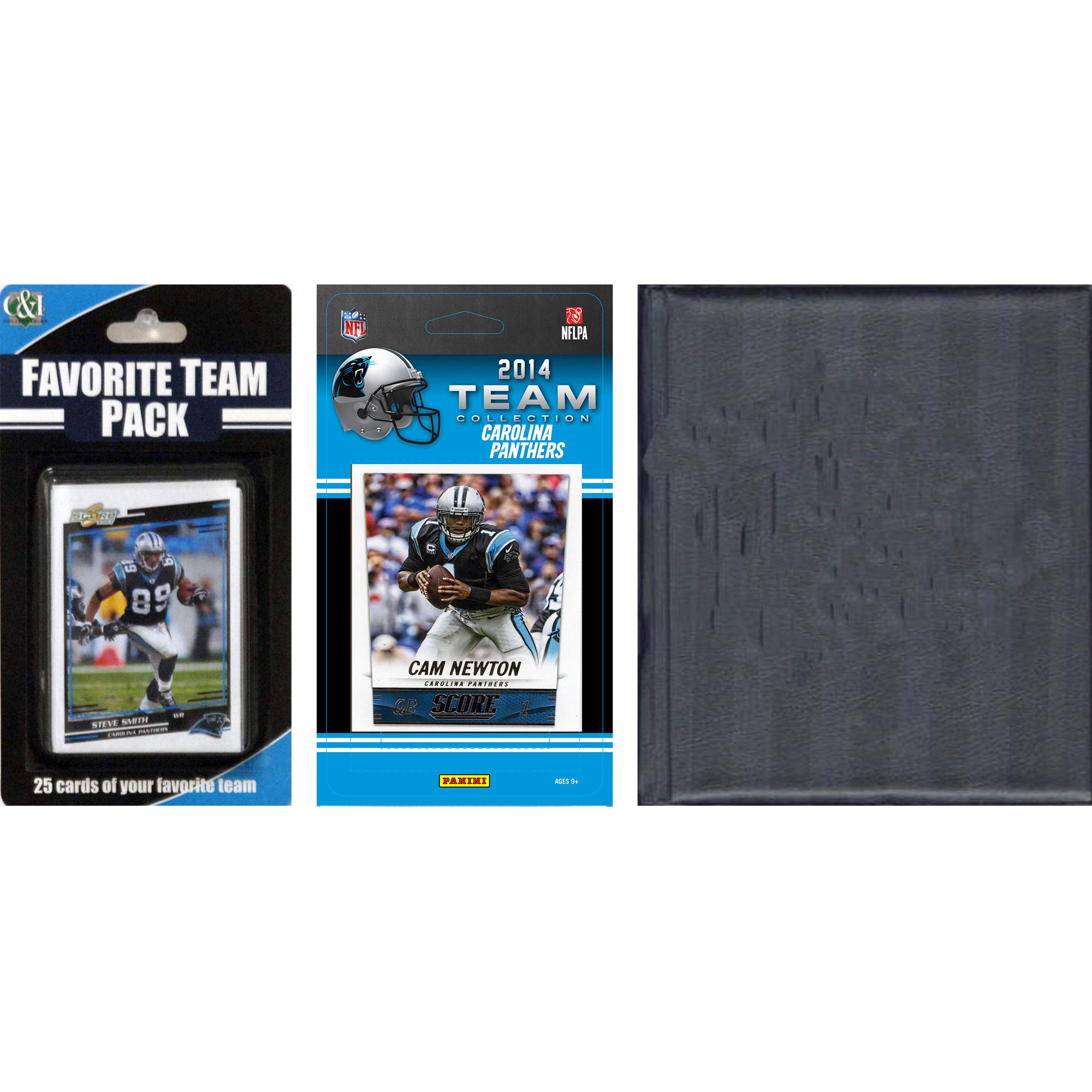 C&I Collectables NFL Carolina Panthers Licensed 2014 Score Team Set and Favorite Player Trading Card Pack Plus Storage Album