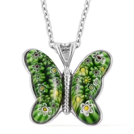 Murano Glass Green Butterfly Flower Chain Pendant Fashion Necklace Stainless Steel Jewelry 24""