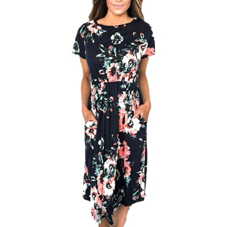 Summer Short Sleeve Floral Print Women Casual Knee-length - The Purge White Dress