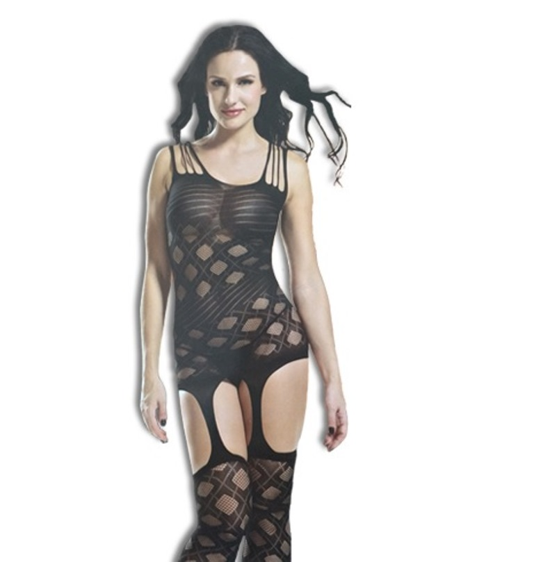 Diamond Fishnet Crotchless Bodystocking with Garters