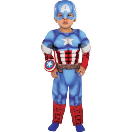Suit Yourself Captain America Muscle Costume for Babies, Includes a Padded Jumpsuit, a Hat, and