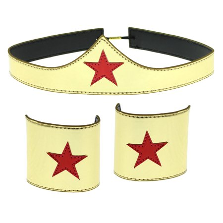 Wonder Woman Cuff and Tiara Adult Cosplay Costume Set - Comic Cosplay