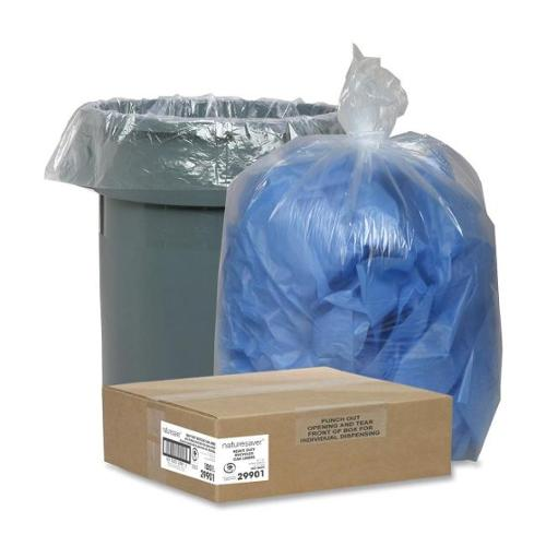 "Nature Saver Clear Recycled Trash Can Liner - Large Size - 45 gal - 40"" Width x 46"" Length x 1.50 mil (38 Micron) Thickn"