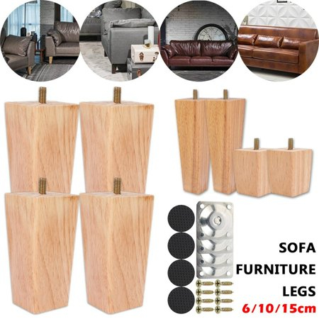 4PCS Solid Wood Sofa Legs Multi Function 6/10/15cm Carved Furniture Foot Legs Sofa Loveseat Wardrobe