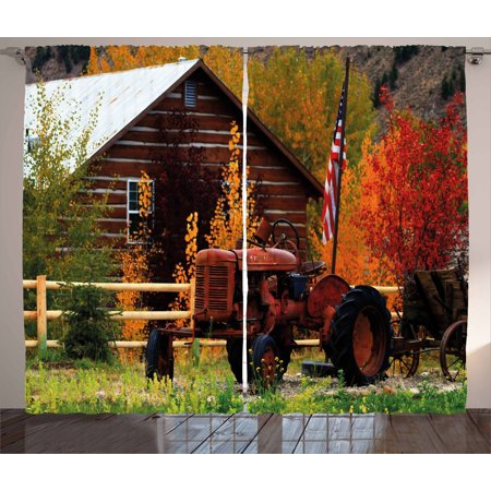 Fall Curtains 2 Panels Set, Rustic Cabin with Rusty Tractor Country Cottage House Seasonal Colors US Flag Loyalty, Window Drapes for Living Room Bedroom, 108W X 63L Inches, Multicolor, by Ambesonne ()
