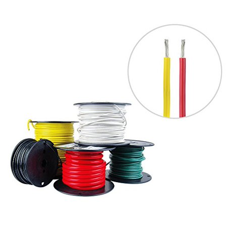 10 AWG Marine Wire Tinned Copper Boat Cable 25 ft Red, 25 ft Yellow USA Made ()