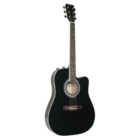 Johnson JG-650-TB Thinbody Acoustic Guitar with Pickup, Black Multi-Colored Johnson Acoustic Guitar
