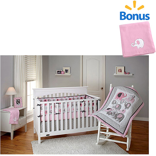 Little Bedding by NoJo Elephant Time 4pc Crib Bedding Set w/Bonus Fleece Blanket, Pink