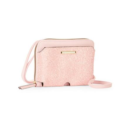 No Boundaries Pink Quartz Glitter Zip Around Crossbody Bag