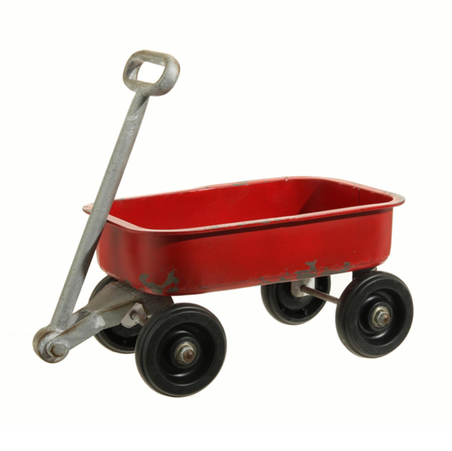 """14.5"""" Country Cabin Rustic Red Iron Wagon Decoration"""