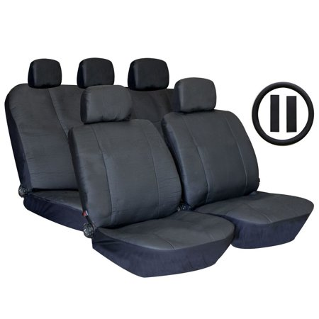- Unique Imports Black Premium Synthetic PU Faux Leather Seat Cover Set with Carpet Floor Mats