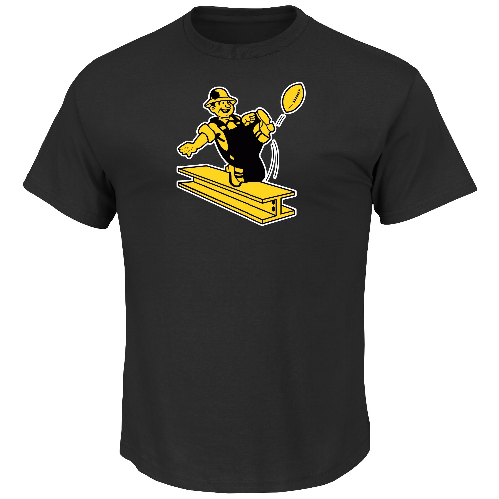 "Pittsburgh Steelers Majestic ""Back in Time"" Men's Throwback S/S Premium T-Shirt"