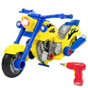 Best Choice Products Kids Toy 20-Piece Assembly Take-A-Part Motorcycle Set W  Lights Sound Play Tools by