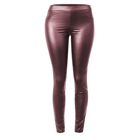 Coated Legging (Made by Olivia Women's Stretchy Faux Leather Fleece Lined Mid Rise Skinny Coated Legging Pants Maroon M )