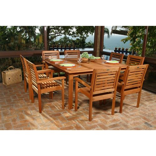 Milano Eucalyptus Square 9-Piece Patio Dining Set
