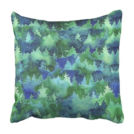 EREHome Blue Winter with Christmas Tree in The Snow Watercolor with Landscape of Scene Cedar Pillowcase 18x18 inch - image 1 de 1