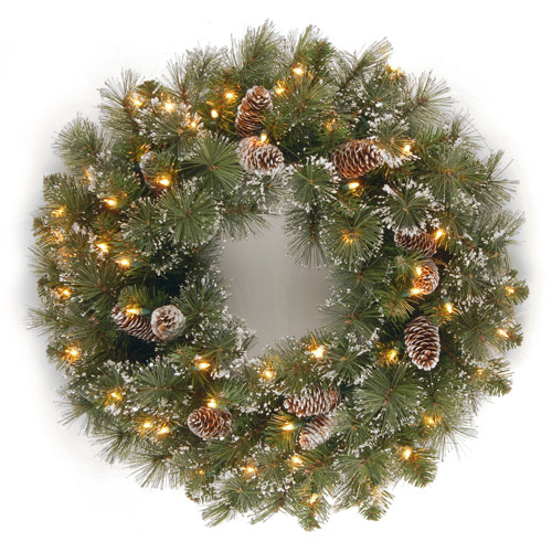 """National Tree 24"""" Glittery Pine Wreath with Cones, Snowflakes and 50 Clear Lights"""