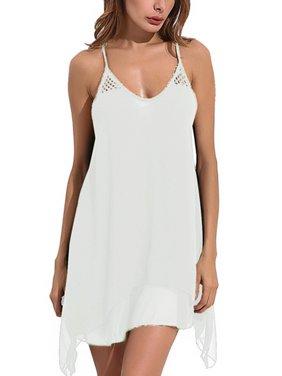 Women  Sexy Backless Strap Chiffon Beach Mini Short Dress