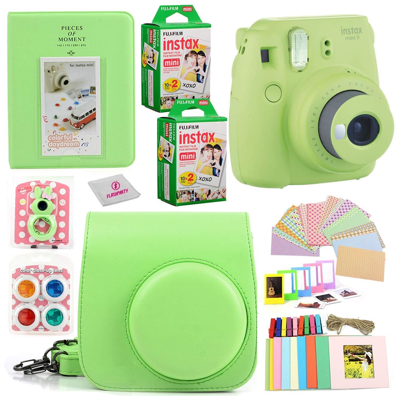 Fujifilm Instax Mini 9 Instant Fuji Camera (Cobalt Blue) + Case + Instant Mini 9 Film 40 Pack + Accessories Bundle: Colorful Picture Frames + Decorative Stickers + Selfie Mirror + Photo Album & More.