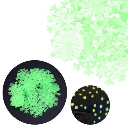 50pc kids bedroom fluorescent glow in the dark snowflake wall
