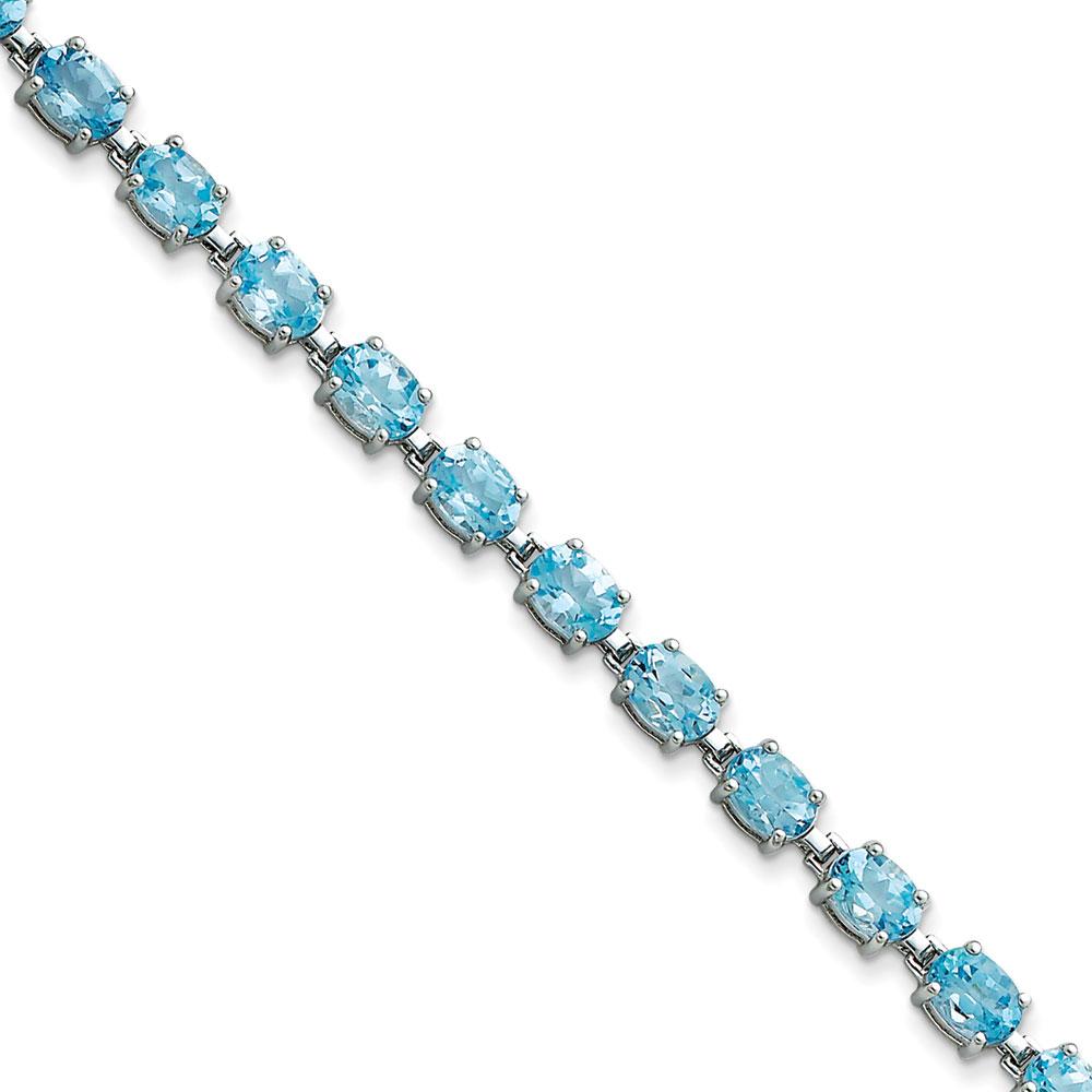 Sterling Silver Blue Topaz Bracelet Box Clasp by