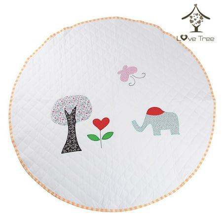 LoveTree Round White Kids Canvas Cushion Anti skid Door Mat Carpet Rug, Elephant (Footstool Anti Skid)