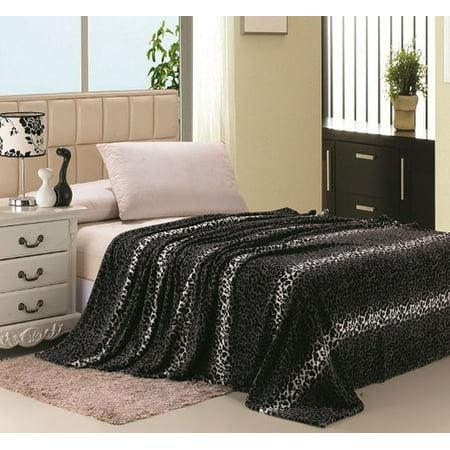 Printed Fleece Blanket (Super Soft Printed Luxurious Coral Fleece Warm Bed / Throw Blanket - Queen Size - Gray Leopard )
