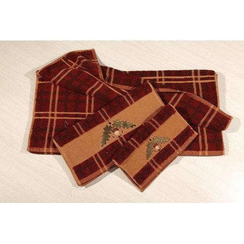 HiEnd Accents Embroidered Acorn Plaid 3 Piece Towel Set