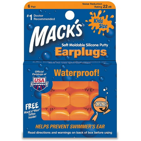 Mack's Kids Size Soft Moldable Silicone Ear Plugs 6 ea (Pack of (Kids Silicone Ear Plugs)