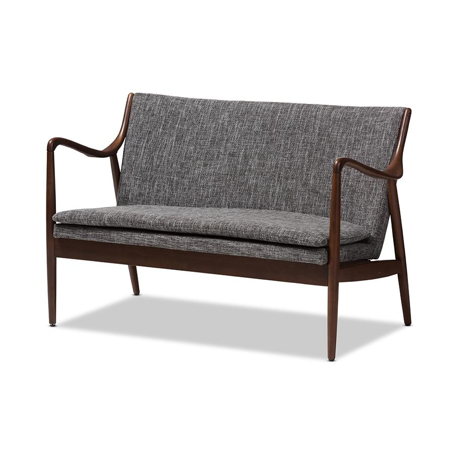 Shakespeare Mid Century Modern Walnut Wood Fabric Upholstered 2 Seater Loveseat Gray - Baxton Studio