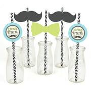 Dashing Little Man Mustache - Paper Straw Decor - Baby Shower or Birthday Party Striped Decorative Straws - Set of 24