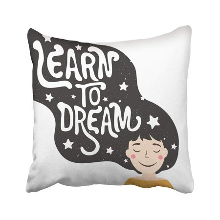 BPBOP Cute Romantic With Girl With Long Black Hair Childish Vintage Inspiration With Lettering Pillowcase Throw Pillow Cover Case 18x18 - Cute Inspiration